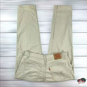 Vintage Levi's 550 Relaxed Fit Tapered Leg High Waist Mom Jeans Beige Women's 14